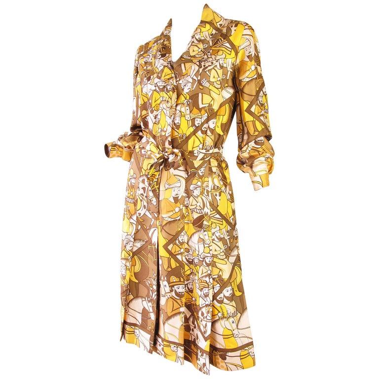 Hermes Silk Printed Shirt Dress, 1970s For Sale