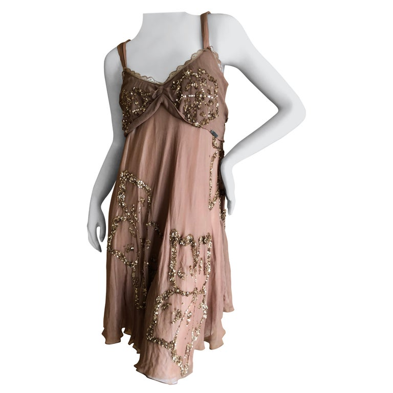 John Galliano SS 2007 Sequin Flower Embellished Mini Cocktail Dress Size 42 For Sale