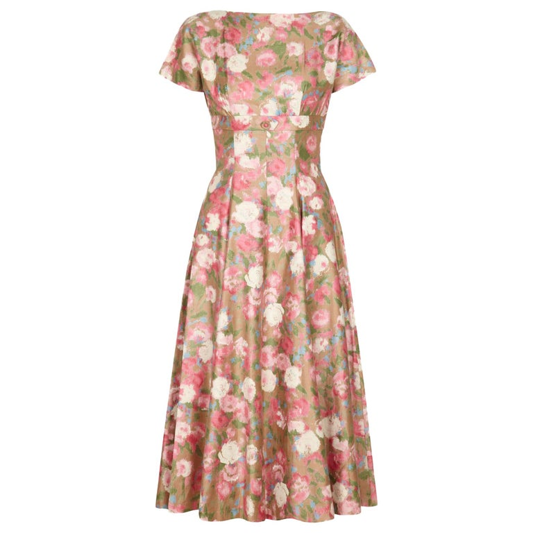 1950s Polished Cotton Floral Dress For Sale