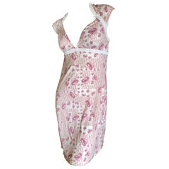 Christian Dior Lingerie by John Galliano Cherry Blossom Pattern Logo Dress