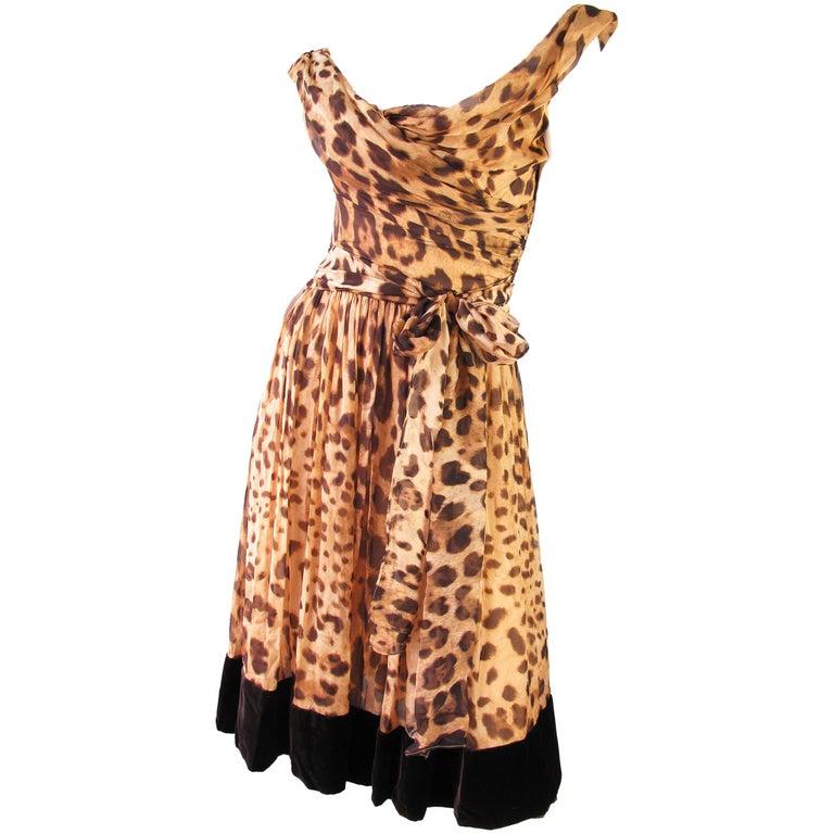 Dolce & Gabbana Silk Chiffon Leopard Print Dress  For Sale