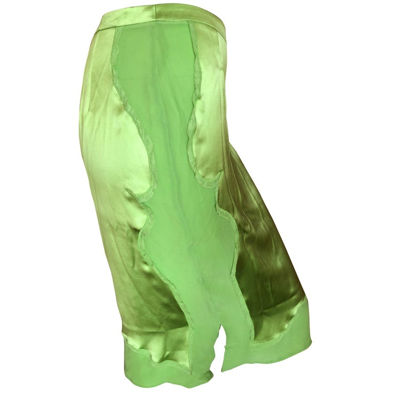 Yves Saint Laurent by Tom Ford 2004 Bright Green Silk Skirt New with Tags Sz 38 For Sale