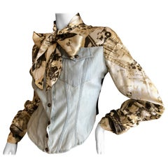 Christian Lacroix Bazar Vintage Washed Denim and Silk Jacket with Bow