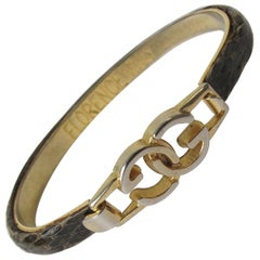 "1970s Gucci Snakeskin Bangle ""GG"""
