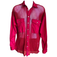 Versus Gianni Versace Rare 1993 Red Sheer Mesh Men's Large Shirt