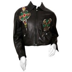 Gianni Versace Embellished Leather Jacket, 1990s