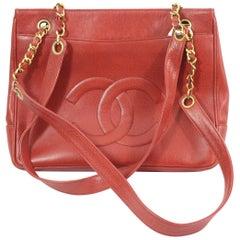 Vintage Chanel Red Caviar  Leather Vintage Shopper Bag