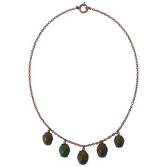 Vintage Gold Tone Real Iridescent Green Scarab Beetle Drop Necklace, circa 1920s