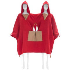 Jean Charles de Castelbajac Red Wool Two Person Poncho, Circa 1970s