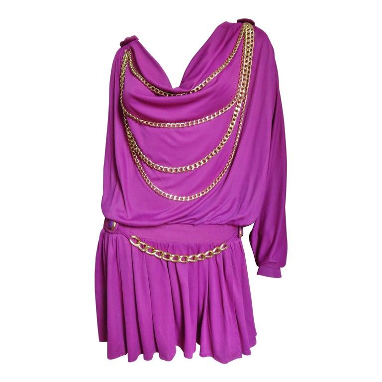 Dolce & Gabbana Circa 2000 One Sleeve Dress with Chains