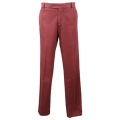 BRUNELLO CUCINELLI Size 34 Burgundy Washed Cotton Chino Pants