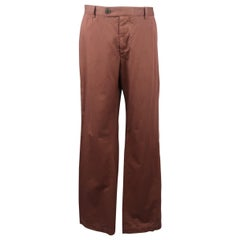 DRIES VAN NOTEN Size 34 Brown Solid Cotton Stright Wide Leg Casual Pants