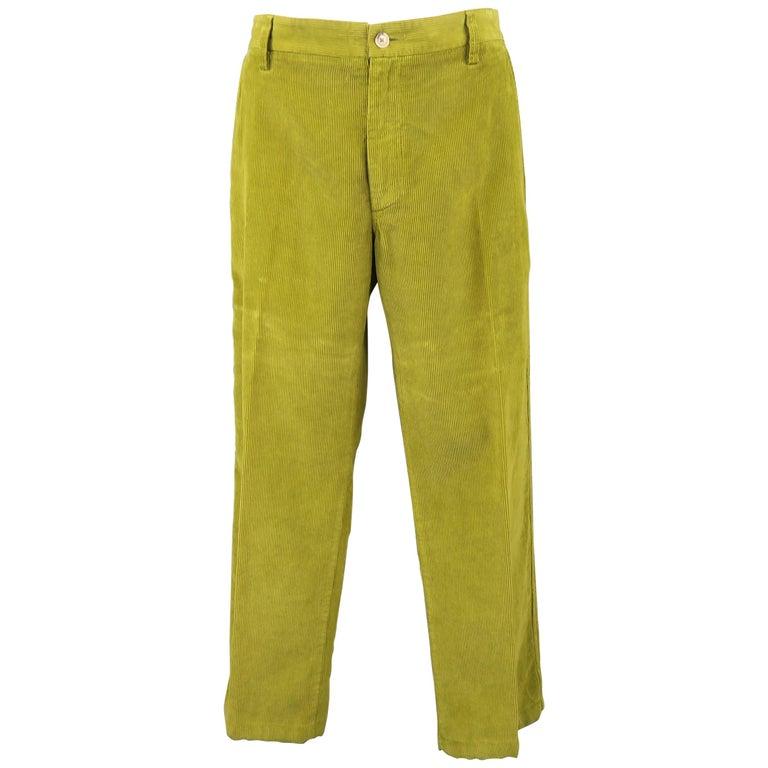 ETRO Size 32 Green Corduroy Straight Leg Casual Pants