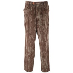 ETRO Size 32 Brown Marble Effect Houndstooth Velvet Dress Pants