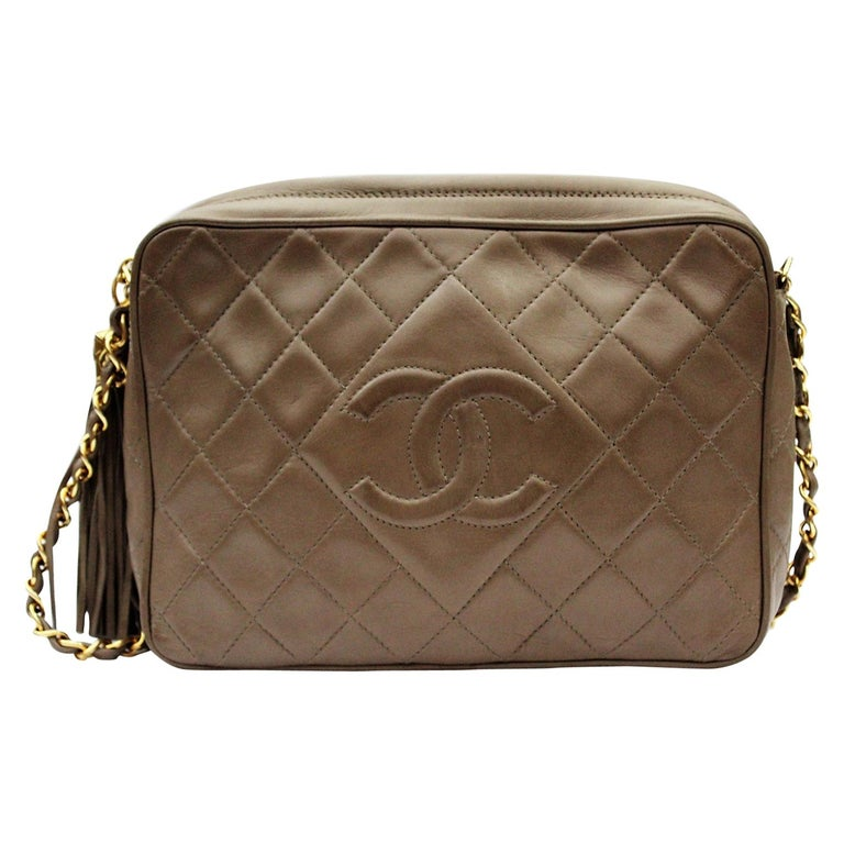 1990s Chanel Brown Leather Crossbody Bag For Sale