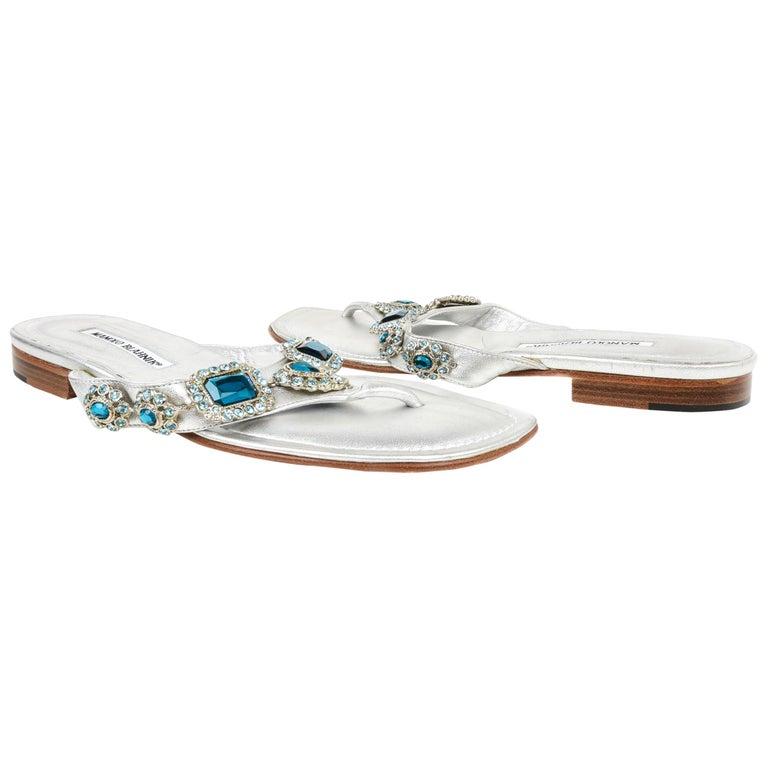 4960fcf901ac6 Manolo Blahnik Shoe Silver Thong Sandal w Aqua Diamantes 40 / 10 For Sale
