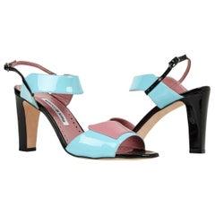 Manolo Blahnik Shoe Multi Coloured Patent Leather Sandal 39.5 / 9.5