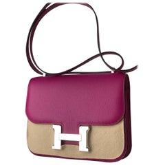 Hermes Constance Mini Rose Pourpre Epsom Phw Handbag