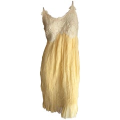 Alexander McQueen Yellow Guipure Lace Dress & Cashmere Shrug 2004