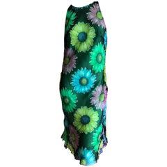 Gianni Versace Couture Vintage Warhol Daisy Print SIlk Dress 1992