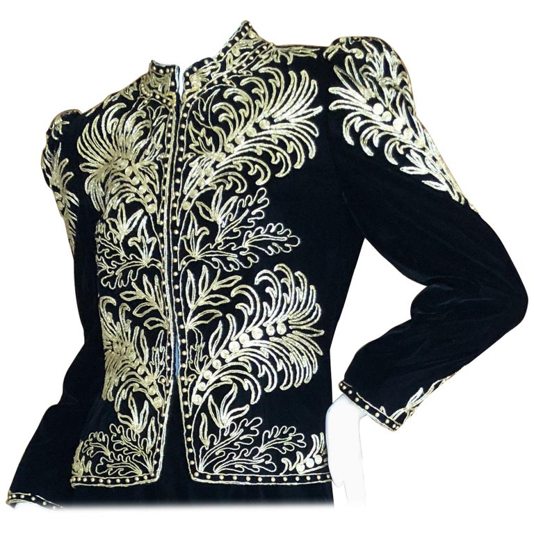 Oscar de la Renta Heavily Gold Embellished Black Velvet Vintage 1980's Jacket For Sale