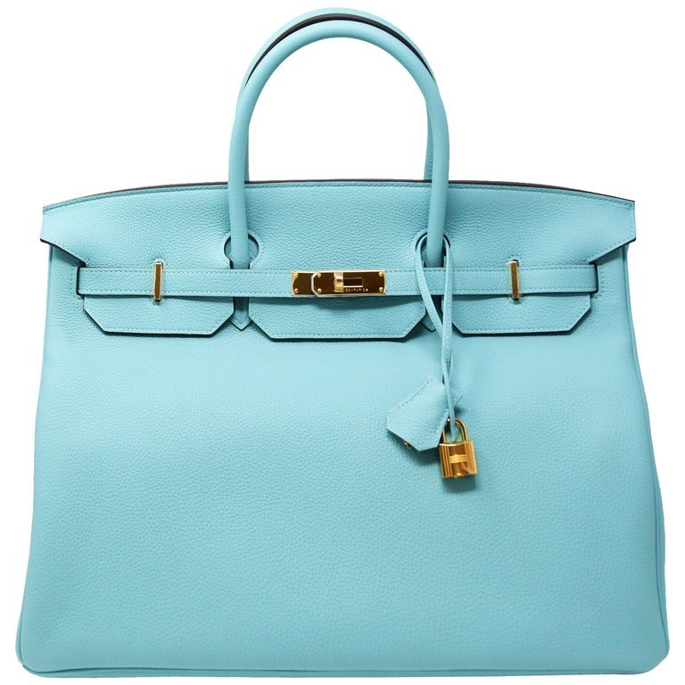 Hermes Birkin Bag 40cm Blue Atoll Clemence GHW For Sale