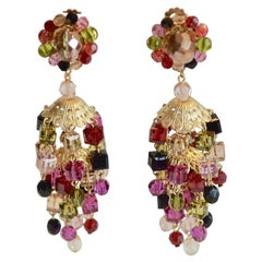 Francoise Montague Multi-Color Cube Clip Earrings