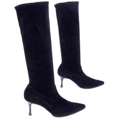 "Manolo Blahnik Boots in Black Suede Knee Length With 3"" Heels in Size 38.5"