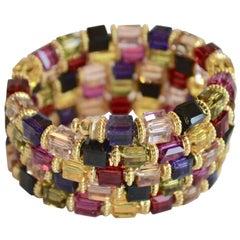 Francoise Montague Jewel Tone Memory Wire Wrap Bracelet