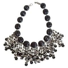 Francoise Montague Black and Silver Fringe Statement Necklace