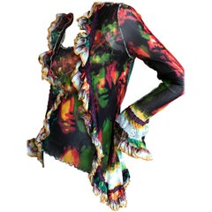 Jean Paul Gaultier Maille Femme Vintage Two Piece Ruffle Face Print Sweater Set