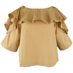 CHLOE Size 2 Beige Cotton Ruffled Collar A line Blouse