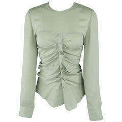 ISABEL MARANT Size 2 Mint Green Silk Gathered Sweetheart Overlay Blouse