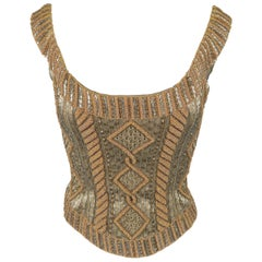 BELLVILLE SASSOON Size 6 Taupe Tapestry Patterned Beaded Bodice Bustier