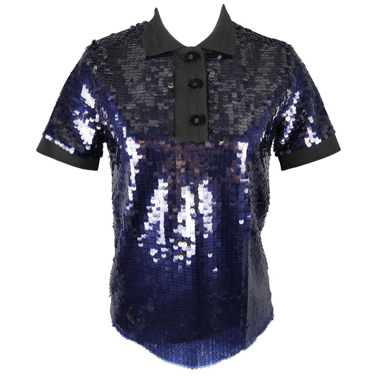 CARVEN Size M Navy & Black Payette Sequin Polo