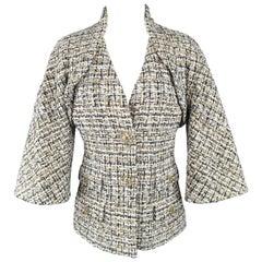 Chanel Jacket White Navy and Gold Tweed Bolero Overlay Bell Sleeve Coat