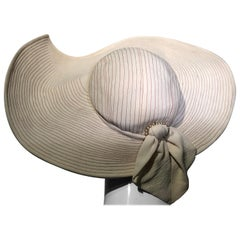1930s Lucille Morgan Eggshell Summer Crepe Picture Hat With Trapunto Stitching
