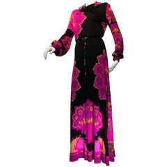 1970s Leonard Paris Silk Print Jersey Maxi Dress W/ Cowl Neckline & Beaded Belt
