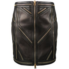 TOM FORD Size 6 Black Leather Gold Zippers Pattern Mini Skirt