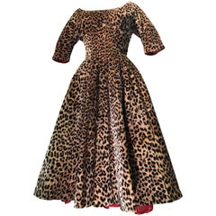 1950s Suzy Perette Leopard Print Velvet Swing Cocktail Dress W/ Red Crinoline