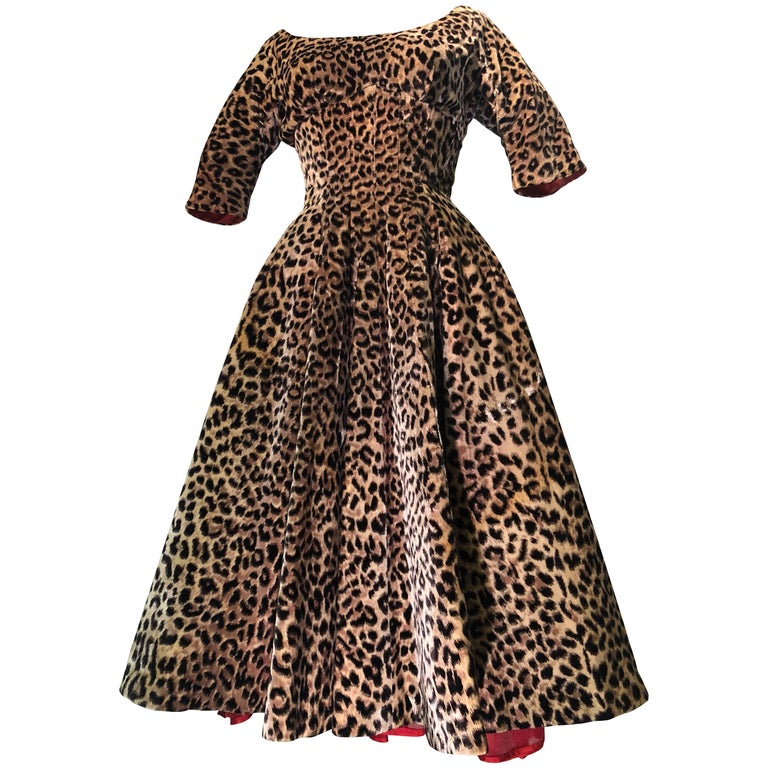 16a925b2d 1950s Suzy Perette Leopard Print Velvet Swing Cocktail Dress W/ Red  Crinoline For Sale