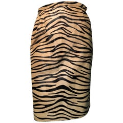 1980s Bill Blass Tiger Print Stenciled Calf Fur Pencil Skirt