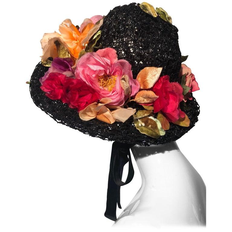 1950s Irina Roublon Silk Floral Trim Black Straw Hat W/ Velvet Ribbons For Sale