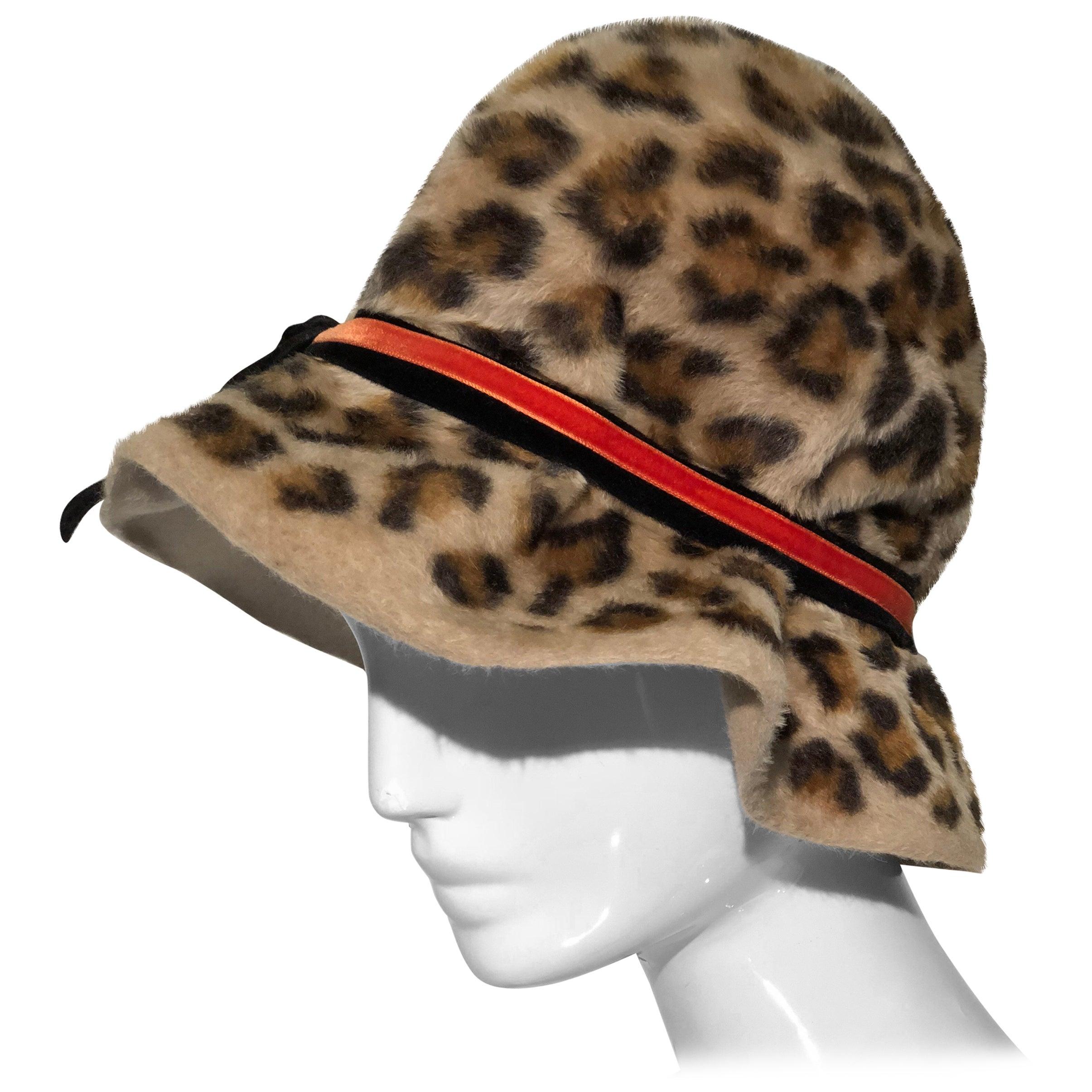 1960s Mr. John Leopard Print Bucket Mod Hat In Fur Felt W/ Orange Velvet Ribbon