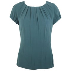 Celine Green Silk Short Sleeves Blouse