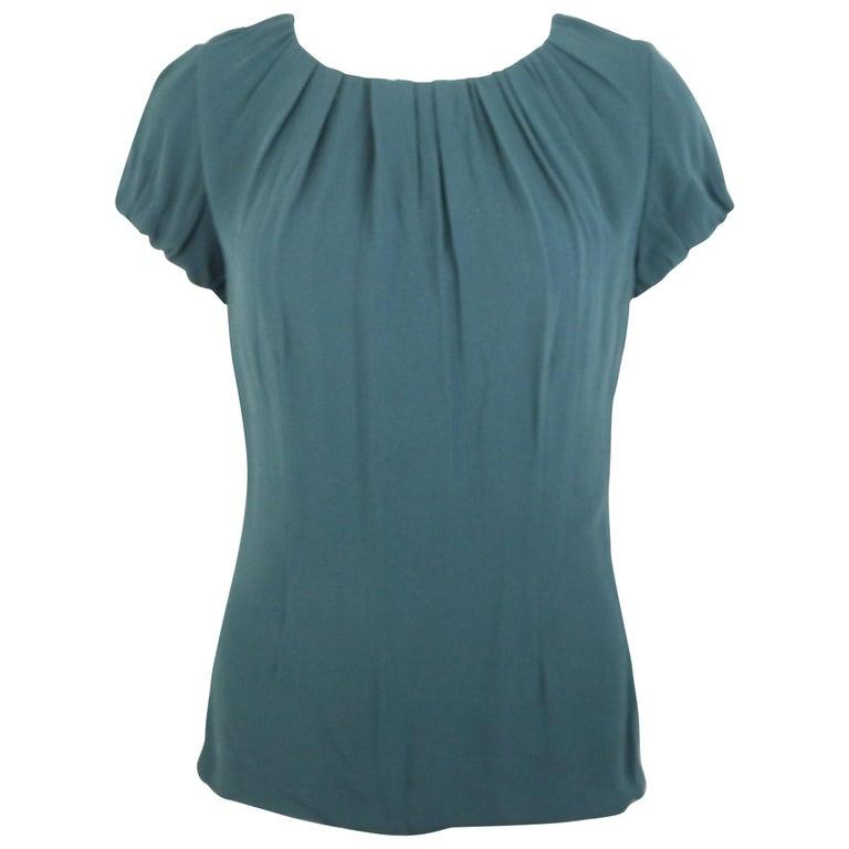Celine Green Silk Short Sleeves Blouse  For Sale