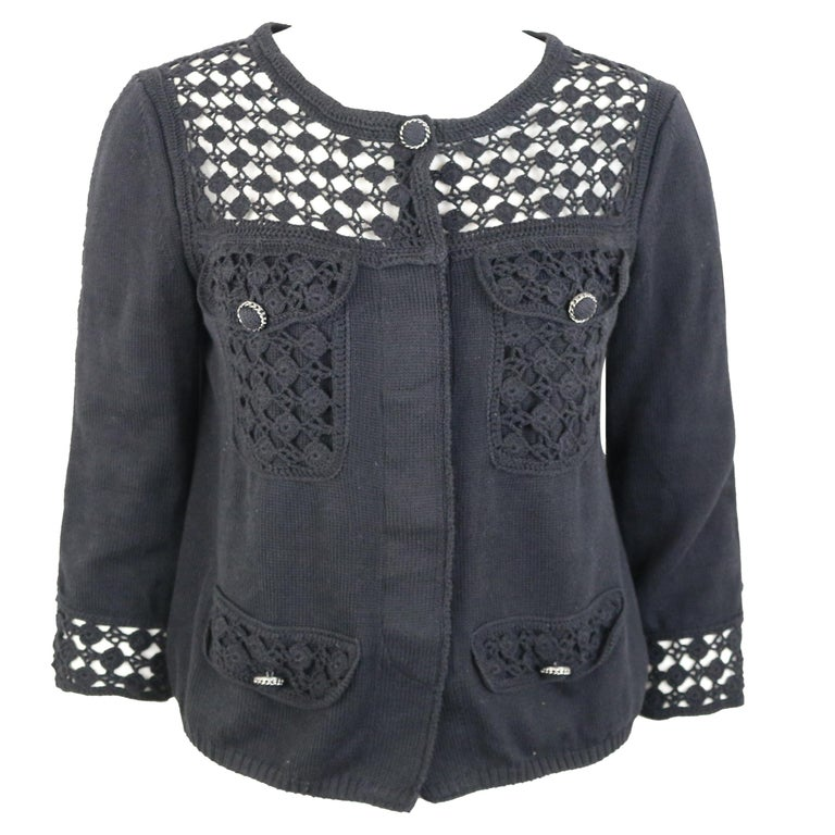 Chanel Black Cotton Pattern Knitted 3/4 Sleeves Length Cardigan  For Sale
