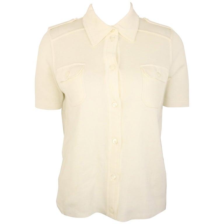 Prada White Cotton Knitted Shoulder Epaulettes Short Sleeves Collar Shirt  For Sale