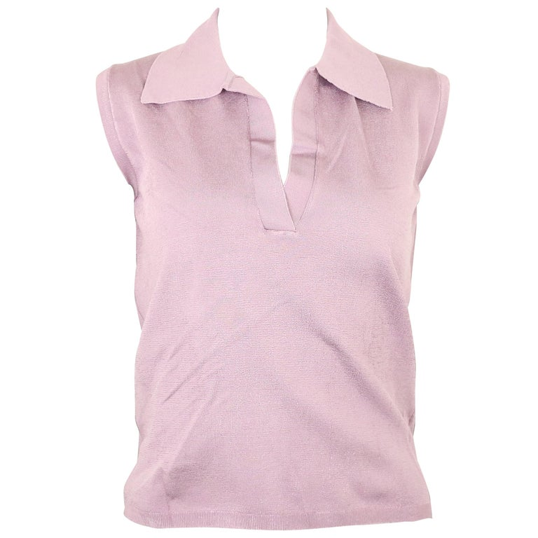 Prada Purple Silk Knitted Sleeveless Opening Collar Top  For Sale
