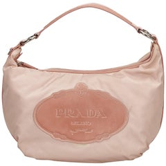 Prada Pink x Brown Logo Nylon Hobo Bag